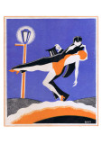 Art Deco Couple in the Street Giclee Print