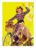 Spring Bike Ride - Child Life, March 1946 Giclee Print by Katherine Wireman
