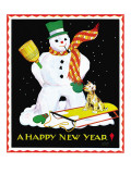 Snowman & Dog - Child Life, January 1935 Giclee Print by Eleanor Mussey Young
