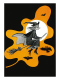 Witch & Her Broom - Child Life, October 1959 Giclee Print