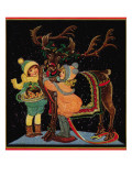 Dressing the Reindeer - Child Life, December 1925 Giclee Print by Hazel Frazee