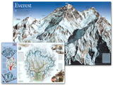 Mount Everest National Geographic, Two - sided map Prints