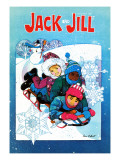 Sledding Fun - Jack and Jill, January 1981 Giclee Print by Len Ebert