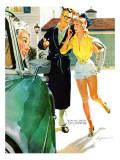 """Caroline's Men - Saturday Evening Post """"Leading Ladies"""", April 22, 1955 pg.26 Giclée-tryk af Robert Meyers"""