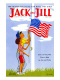 Raising the Flag - Jack and Jill, July 1955 Giclee Print by J. Bendick