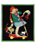 The Girl and the Scooter - Child Life, March 1928 Giclee Print by Hazel Frazee