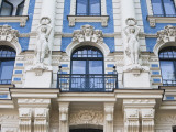 Latvia, Riga, Art Nouveau District, Strelnieku Iela Street, Stockholm School of Economics Photographic Print by Walter Bibikow