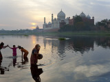 Taj Mahal and Collecting Water on the Banks of the River Yamuna, Agra, India Photographic Print by Peter Adams