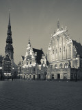 Latvia, Riga, Old Riga, Blackheads' House, B;1344, Exterior and St; Peter's Lutheran Church Photographic Print by Walter Bibikow