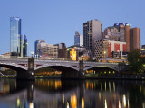 Australia, Victoria, Melbourne; Princes Bridge on the Yarra River, with the City Skyline at Dusk Photographic Print by Andrew Watson