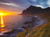 Mightnight Sun over Dramatic Coastal Landscape, Vikten, Flakstadsoya, Lofoten, Norway Photographic Print by Doug Pearson