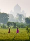 Women Carrying Water Pots, Taj Mahal, Agra, India Fotografie-Druck von Peter Adams
