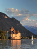 Switzerland, Vaud, Montreaux, Chateau De Chillon and Lake Geneva (Lac Leman) Photographic Print by Michele Falzone