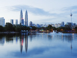South East Asia, Malaysia, Kuala Lumpur, Petronas Towers and Kl Tower, Lake Titiwangsa Photographic Print by Christian Kober