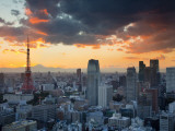 Tokyo Tower and Mt; Fuji from Shiodome, Tokyo, Japan Reproduction photographique par Jon Arnold