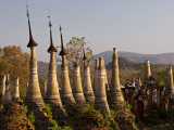 Myanmar, Burma, Inle Lake; Ancient Buddhist Shrines, Stupas and Pagodas at Shwe Inn Thein Paya Photographic Print by Katie Garrod