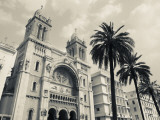 Tunisia, Tunis, Avenue Habib Bourguiba, Cathedral of St; Vincent De Paul Photographic Print by Walter Bibikow