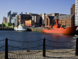 The Red Light Ship at Canning Dock by Albert Dock and the Liver Building, Liverpool, England, Uk Photographic Print by Carlos Sanchez Pereyra