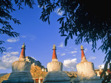 Stupas at the Entrance to Thikse Monastery, Ladakh, North West India Photographic Print by Paul Harris
