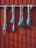 Fishing Nets Hanging from Rorbuer Exterior, Storvagen, Austvagsoya, Lofoten, Nordland, Norway Photographic Print by Doug Pearson