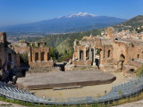 The Greek Theatre and Mount Etna, Taormina, Sicily, Italy Photographic Print by Peter Adams