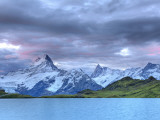 Switzerland, Bernese Oberland, Grindelwald, First, Bachalpsee and Mt Schreckhorn Photographic Print by Michele Falzone