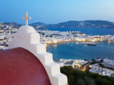 Elevated View over the Harbour and Old Town, Mykonos (Hora), Cyclades Islands, Greece, Europe Photographic Print by Gavin Hellier