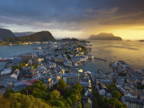 Elevated View over Alesund at Sunset, Sunnmore, More Og Romsdal, Norway Photographic Print by Doug Pearson