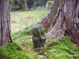 Asia, Japan; Kyoto, Sanzen in Temple (986), Stone Statue of a Monk Praying Photographic Print by Christian Kober