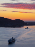 Sunset over Giske Island and the Ms Trollfjord, Sunnmore, More Og Romsdal, Norway Photographic Print by Doug Pearson