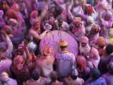 Drum in Temple During Holi Festival, Mathura, Uttar Pradesh, India Fotodruck von Peter Adams