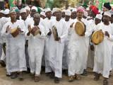 Kenya; a Joyful Muslim Procession During Maulidi, the Celebration of Prophet Mohammed's Birthday Fotografisk tryk af Nigel Pavitt
