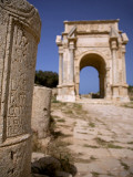 Libya; Tripolitania; Khums; an Inscription on a Stone and the Arch of Septimius Severus Photographic Print by Ken Sciclina