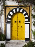 Tunisia, Sidi Bou Said, Building Detail Fotografisk tryk af Walter Bibikow