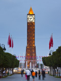 Tunisia, Tunis, Avenue Habib Bourguiba, Place Du 7 Novembre 1987 Clocktower Photographic Print by Walter Bibikow