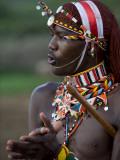 Kenya, Laikipia, Ol Malo; a Samburu Warrior Sings and Claps During a Dance Fotografisk tryk af John Warburton-lee