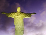 Brazil, Rio De Janeiro, Cosme Velho, Christ the Redeemer Statue at Atop Cocovado at Night Photographic Print by Jane Sweeney