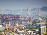 Stonecutters Bridge and Container Port with Hong Kong Island in Background, Hong Kong, China Photographic Print by Ian Trower