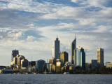 Australia, Western Australia, Perth; View across the Swan River to the City Skyline at Dusk Photographic Print by Andrew Watson
