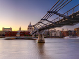 Uk, London, St; Paul's Cathedral and Millennium Bridge over River Thames Photographic Print by Alan Copson