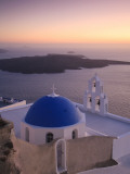 Greece, Cyclades, Santorini, Firostefani, Church and View of Santorini Caldera Photographic Print by Michele Falzone