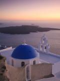 Greece, Cyclades, Santorini, Firostefani, Church and View of Santorini Caldera Photographic Print by Michele Falzone