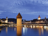 Switzerland, Lucern (Luzern), Chapel Bridge and River Reuss Photographic Print by Michele Falzone