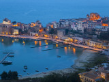 View over Harbour at Dusk, Castellammare Del Golfo, Sicily, Italy Photographic Print by Peter Adams