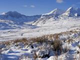 Wales, Gwynedd, Snowdonia; View over the Frozen Landscape Towards the Snowdon Horseshoe Photographic Print by John Warburton-lee