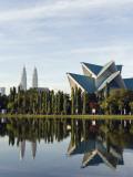 Malaysia, Kuala Lumpur, Petronas Towers and Istana Budaya National Theatre, Lake Titiwangsa Photographic Print by Christian Kober