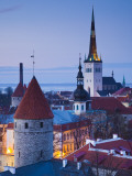 Estonia, Tallinn, Troompea Area, Old Town View from Troopea, Dusk Photographic Print by Walter Bibikow