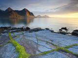 Coastal Landscape Illuminated by Mightnight Sun, Flakstad, Flakstadsoya, Lofoten, Norway Photographic Print by Doug Pearson