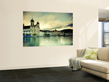 Switzerland, Lucern (Luzern), Jesuit Church and River Reuss Wall Mural by Michele Falzone
