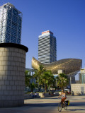 Barceloneta Beach and Port Olimpic with Frank Gehry Sculpture, Barcelona, Spain Photographic Print by Carlos Sanchez Pereyra